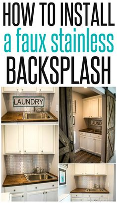 faux stainless backsplash