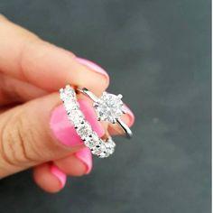 14K White Gold Fn 1.00 Ct Round Diamond Engagement Wedding Band Bridal Ring Set #Beijojewels #Engagement #weddingring
