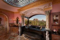 Mediterranean master bath with a view. Chic Bathrooms, Dream Bathrooms, Beautiful Bathrooms, Luxury Bathrooms, Tuscan Design, Expensive Houses, Home Spa, More Pictures, Traditional House