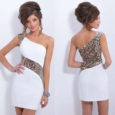One shoulder homecoming dresses, white homecoming dresses, cute homecoming dresses, cheap homecoming dresses from Dress Time - Best Outfits Ideas 2019 Pretty Dresses, Sexy Dresses, Beautiful Dresses, Short Dresses, Gorgeous Dress, Dress Outfits, Blush Dresses, Beautiful Gorgeous, Cheap Dresses