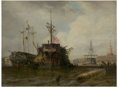 Portsmouth Harbour: The Hulks, by Edward William Cook, 1837.