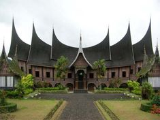 Indonesia, Istana Pagaruyung in Padang, Rumah Gadang - traditional house from