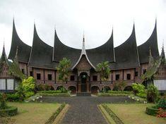 Indonesia, Istana Pagaruyung in Padang, Rumah Gadang - traditional house from