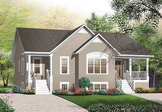 This one story bi-generational home plan look like a single family home while giving each family their own separate spaces. 2/1 and 1/1  Each entry has a lovely porch and the foyer. The kitchens are attractive and roomy and open to the dining A central island lunch counter is a great feature.