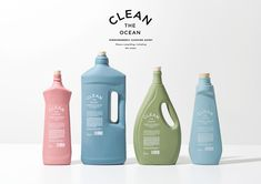 Clean The Ocean - Biodegradable Cleaning Agent on Packaging of the World - Creative Package Design Gallery Bottle Packaging, Cosmetic Packaging, Brand Packaging, Product Packaging, Design Packaging, Pretty Packaging, Eco Design, Cleaning Agent, Design Poster