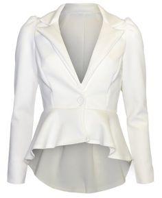 Womens Plain Button Peplum Blazer Jacket - http://fashionable.allgoodies.net/2015/06/womens-plain-button-peplum-blazer-jacket/