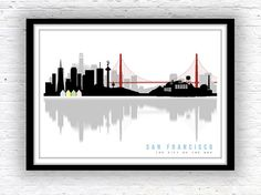 SAN FRANCISCO art, San Francisco skyline, Minimalist city scape, wall decor, poster, San Francisco print on Etsy, $13.45