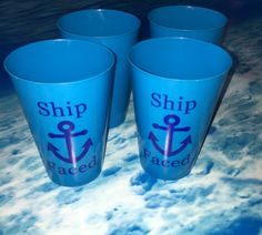 Ship faced cup set  includes 4 cups by sparklesbyjules on Etsy