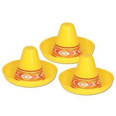 Cinco de Mayo Party Miniature Yellow Plastic Sombrero (48ct)