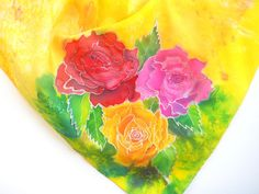 ***Free Shipping (domestic only to U.S.) Use Coupon Code CYBER at checkout. Expires 12/01/15. Roses Original Silk Scarf Handpainted in Kauai by kauaiartist