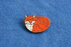 Red fox cute badge brooch pin wooden wood painted gift present idea animal