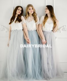 Bridesmaids separates, Rustic bridesmaids dresses, Belle Lace Separates, Wedding Dress Set: Stylishbrideaccs Lace Crop Top with Tulle Skirt Brautjungfern trennt Rustikale Brautjungfernkleider Belle Lace Tulle Skirt Bridesmaid, Rustic Bridesmaid Dresses, Bridesmaid Separates, Boho Bridesmaids, Crop Top With Sleeves, Lace Crop Tops, Tulle Lace, Lace Dress, Dress Long