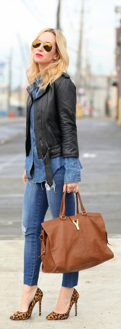 Fall / Winter - street & chic style - denim on denim - black leather jacket + denim shirt + skinnies + leopard print stilettos + brown handbag