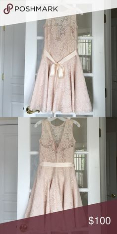 Formal Blush Dress Blush Lace Dress with corset top, flared skirt, silk ribbon. Open to mid back. Never worn! Jordan Fashion  Dresses Prom