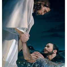 Jesus Christ Teaches Peter The Disciple to focus on Him and keep faith in the storm Lds Art, Bible Art, Miracles Of Jesus, Pictures Of Jesus Christ, Jesus Christus, Jesus Is Lord, Jesus Book, Jesus Help, Christian Art