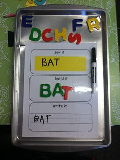 The teacher/parent writes a word in the yellow box. Student reads the word in the yellow box, builds the word with letter blocks and then writes it with a dry erase marker in the box with lines. You can get a free worksheet or I will be making my own.