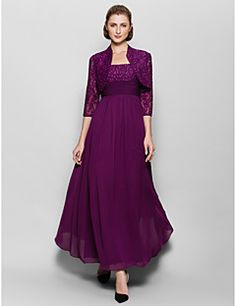 Lanting Bride® A-line Mother of the Bride Dress Ankle-length 3/4 Length Sleeve Chiffon / Lace with Beading / Lace / Ruching – USD $ 345.00
