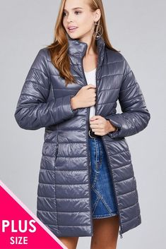 d8e3295b726 Ladies fashion plus size long sleeve quilted long padding jacket  fashion   clothing  shoes