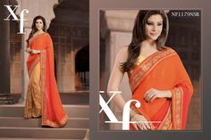 #Fresh #Orange #Net #And #Georgette #Saree #With #Brocade #Blouse #Piece $97.27 www.fashionumang.com