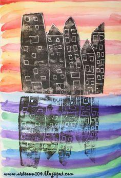 Art Room 104: 2nd Grade Printmaking Unit: Symmetrical City Scapes