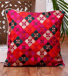 Phulkari Embroidered Cushion Cover