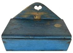 """9th century Pennslyvania hanging Wall Box, in the best original dry blue paint, high arched back, with a heart cut out, all square head nail construction circa 1850, Measurements are 12"""" wide x 7 1/4"""" tall x 7"""" deep Country Treasures, Wall Boxes, Braided Rugs, Country Furniture, Antique Shops, Rug Hooking, Stoneware, 19th Century, Clock"""