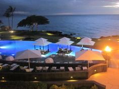 Infiniti Pool at Night- Wailea Beach Marriott Resort & Spa