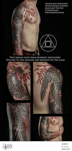 Peter Madsen Meatshop Tattoo - Blood Red Branches and Ravens | tattrx