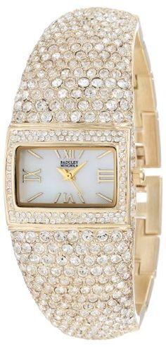 Badgley Mischka Women%27s BA%2F1154MPGB Swarovski Crystal Covered Gold-Tone Bangle Watch