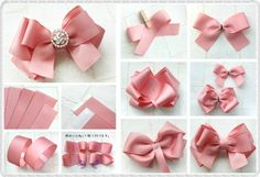 This Pin was discovered by Cry Ribbon Hair Bows, Diy Hair Bows, Lace Bows, Diy Ribbon, Ribbon Work, Ribbon Crafts, Hair Bow Tutorial, Barrettes, Making Hair Bows