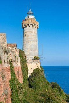 Forte Stella lighthouse,Elba island,Tuscany,Italy-(built in 1548).
