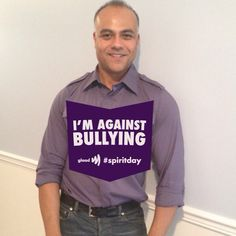 Post this tweet: Join me and stand against bullying! Go purple for #spiritday 10/16 and support LGBT youth at http://glaad.org/spiritday  Tag @GLAAD in your #SpiritDay posts or follow Spirit Day at http://instagram.com/glaad.