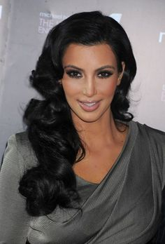 glam wedding hairstyles for long hair | Get the Look: Kim Kardashian's Hairstyles