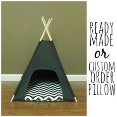 "Cat/Dog Tent Pet Teepee- Small 24"" base- Black Canvas - PICK YOUR PILLOW - Ready Made or Custom Order it - Tenthouse Suite by Vintage Kandy"