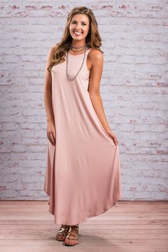 Sleeveless Classic Cut Solid Maxi Dress - Dusty Pink - The Mint Julep Boutique