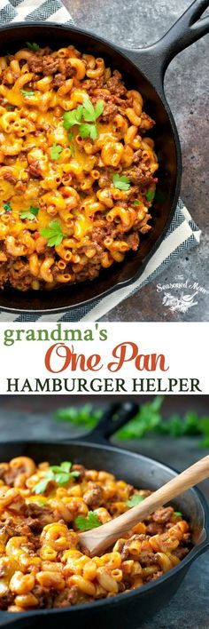 Just 5 minutes of prep for a healthy and easy dinner that cooks entirely in one pan: Grandma's Hamburger Helper! It's a simple one pot meal for busy nights!