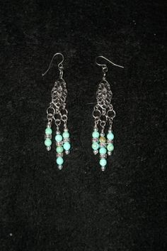 Antiqued Silver & Turquoise Earrings