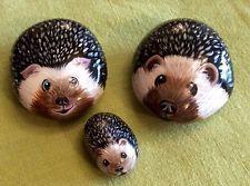 hedgehogs painted on stone rock pebble original cobble creatures range
