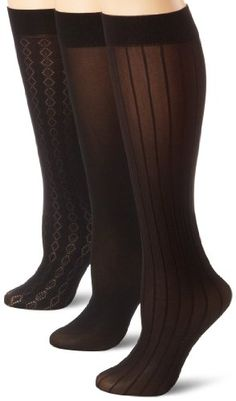 Anne Klein Women`s 3 Pack Diamond Stripe Trouser Sock - List price: $20.00 Price: $9.00