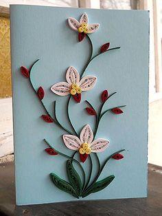 Beautiful Daisy in Spring Garden. 3D Quilling Card Blank Card, Birthday, Congra