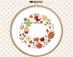 Autumn wreath cross stitch pattern pdf instant por GentleFeather