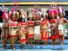 Group of taupou dancers.