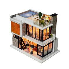 Dollhouse Kits, Wooden Dollhouse, Dollhouse Furniture, Dollhouse Miniatures, Dollhouse Tutorials, Wooden Dolls, Miniature Furniture, Container House Design, Tiny House Design