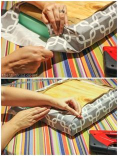 """How to Reupholster a Dining Chair Seat: DIY Tutorial full of tips and tricks. Gotta love this """"no-mess method"""" that eliminates the most grueling steps of any reupholstery project! Keep the original seat intact and simply add a new cushion and fabric atop it! The folding method works great for square-edged chairs like this one. #Chairs"""