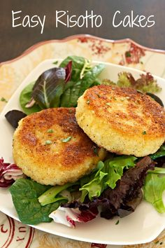 Easy Risotto Cakes - This quick recipe uses just 5 ingredients and takes less than 10 minutes!  A great way to use leftover risotto.