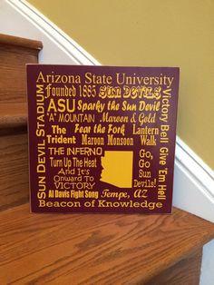 Arizona State University College subway art Sun Devils gift