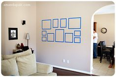 Use painters tape to layout a collage of frames or canvases to make sure you are happy with the final sizes/layout