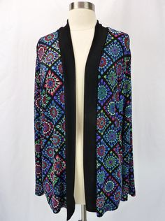 SLINKY BRAND Bold Stained Glass Floral Open-Front Cardigan Duster Jacket L #SlinkyBrand #KnitTop