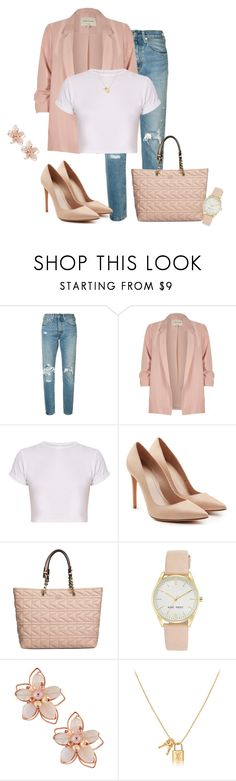 """Casual Spring Day"" by cris-1121 ❤ liked on Polyvore featuring Levi's, River Island, Alexander McQueen, Karl Lagerfeld, Nine West and NAKAMOL"