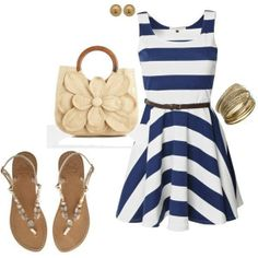 Fashion #outfit with blue and white stripes dress and flat sandals....pass on the purse